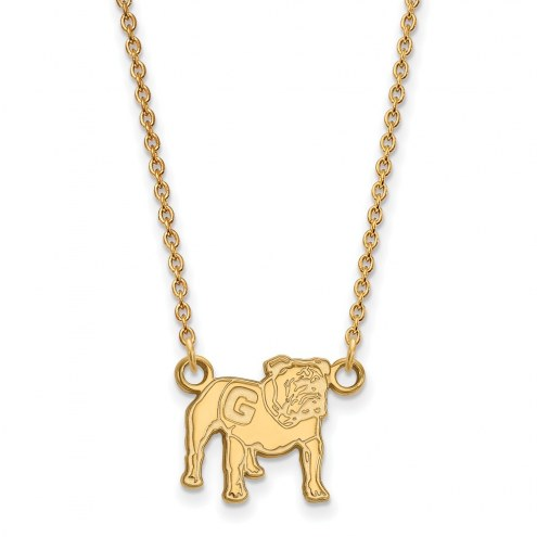 Georgia Bulldogs Sterling Silver Gold Plated Small Pendant Necklace