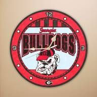 Georgia Bulldogs NCAA Stained Glass Wall Clock