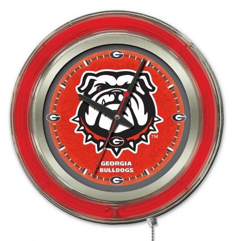 Georgia Bulldogs Neon Clock