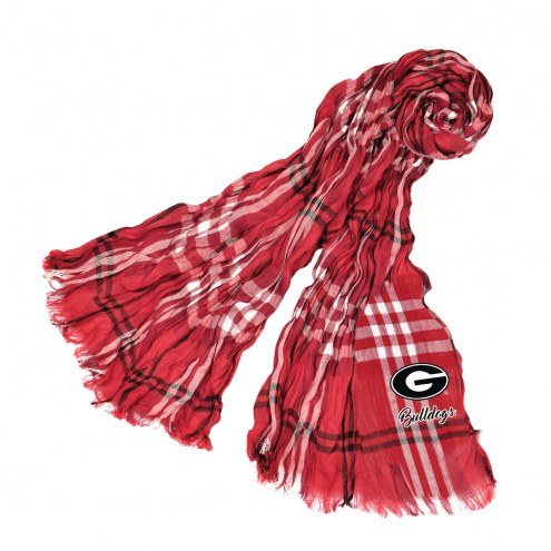 Georgia Bulldogs Plaid Crinkle Scarf