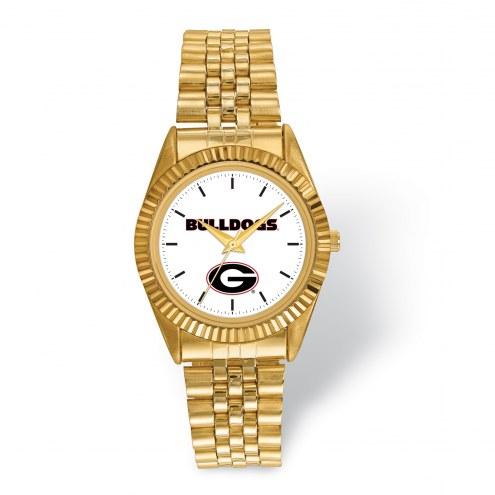 Georgia Bulldogs Pro Gold Tone Gents Watch