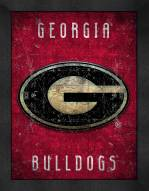 Georgia Bulldogs Retro Logo Map Framed Print