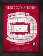 Georgia Bulldogs Retro Stadium Chart Framed Print