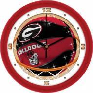 Georgia Bulldogs Slam Dunk Wall Clock
