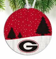Georgia Bulldogs Snow Scene Ornament
