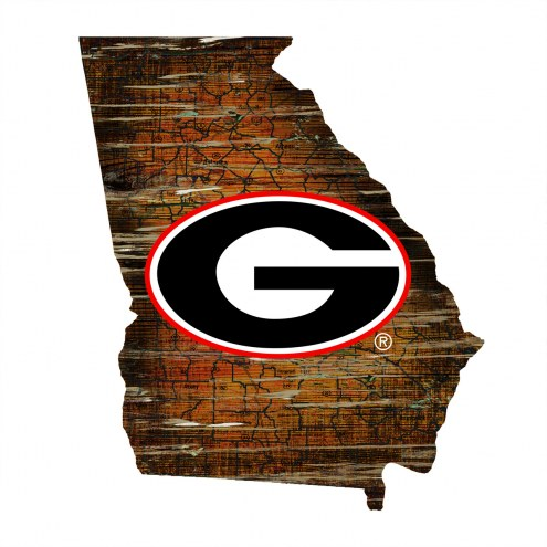 Georgia Bulldogs State Wall Art Wood Sign