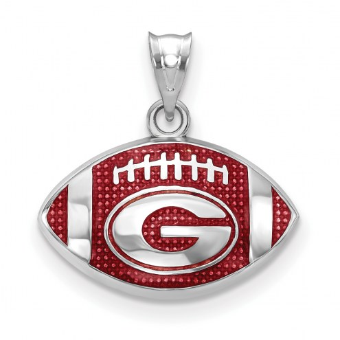 Georgia Bulldogs Sterling Silver Enameled Football Pendant