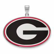 Georgia Bulldogs Sterling Silver Extra Large Enameled Pendant