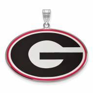 Georgia Bulldogs Sterling Silver Extra Large Enameled Pendant
