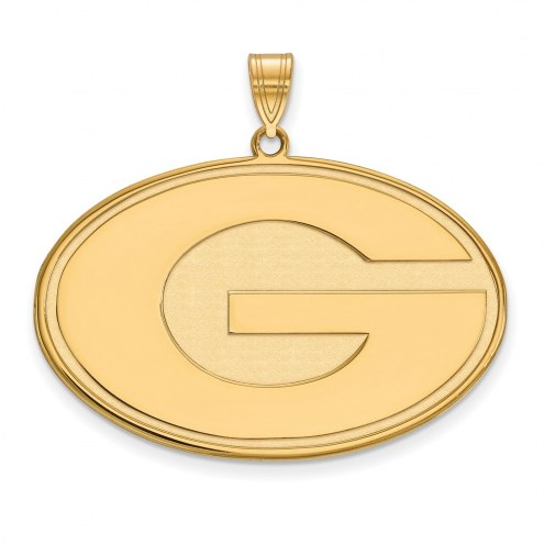 Georgia Bulldogs Sterling Silver Gold Plated Extra Large Pendant