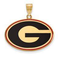 Georgia Bulldogs Sterling Silver Gold Plated Large Enameled Pendant