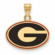 Georgia Bulldogs Sterling Silver Gold Plated Small Enameled Pendant