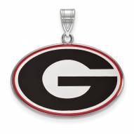 Georgia Bulldogs Sterling Silver Large Enameled Pendant