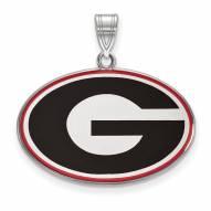 Georgia Bulldogs Sterling Silver Large Enameled Pendant