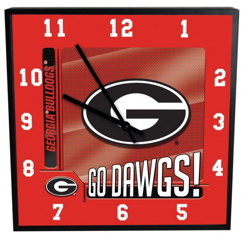 Georgia Bulldogs Team Black Square Clock