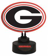 Georgia Bulldogs Team Logo Neon Light