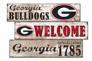 Georgia Bulldogs Welcome 3 Plank Sign