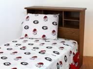 Georgia Bulldogs White Bed Sheets