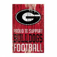 Georgia Bulldogs Proud to Support Wood Sign