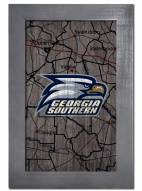 """Georgia Southern Eagles 11"""" x 19"""" City Map Framed Sign"""