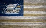 "Georgia Southern Eagles 11"" x 19"" Distressed Flag Sign"
