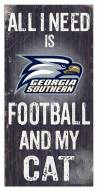 """Georgia Southern Eagles 6"""" x 12"""" Football & My Cat Sign"""