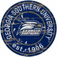 Georgia Southern Eagles Distressed Round Sign