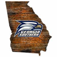 Georgia Southern Eagles Distressed State with Logo Sign