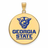 Georgia State Panthers Sterling Silver Gold Plated Extra Large Enameled Disc Pendant