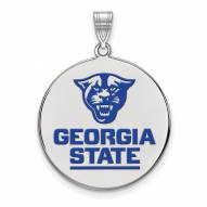 Georgia State Panthers Sterling Silver Extra Large Enameled Disc Pendant