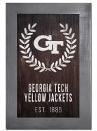 "Georgia Tech Yellow Jackets 11"" x 19"" Laurel Wreath Framed Sign"