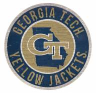 """Georgia Tech Yellow Jackets 12"""" Circle with State Sign"""