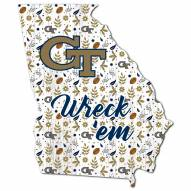 """Georgia Tech Yellow Jackets 12"""" Floral State Sign"""