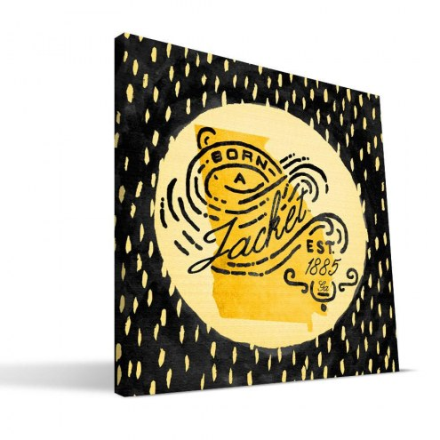 "Georgia Tech Yellow Jackets 12"" x 12"" Born a Fan Canvas Print"