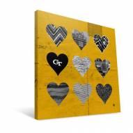 "Georgia Tech Yellow Jackets 12"" x 12"" Hearts Canvas Print"