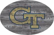 """Georgia Tech Yellow Jackets 46"""" Distressed Wood Oval Sign"""