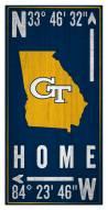 "Georgia Tech Yellow Jackets 6"" x 12"" Coordinates Sign"