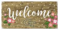 """Georgia Tech Yellow Jackets 6"""" x 12"""" Floral Welcome Sign"""