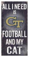 "Georgia Tech Yellow Jackets 6"" x 12"" Football & My Cat Sign"