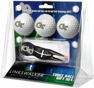 Georgia Tech Yellow Jackets Black Crosshair Divot Tool & 3 Golf Ball Gift Pack