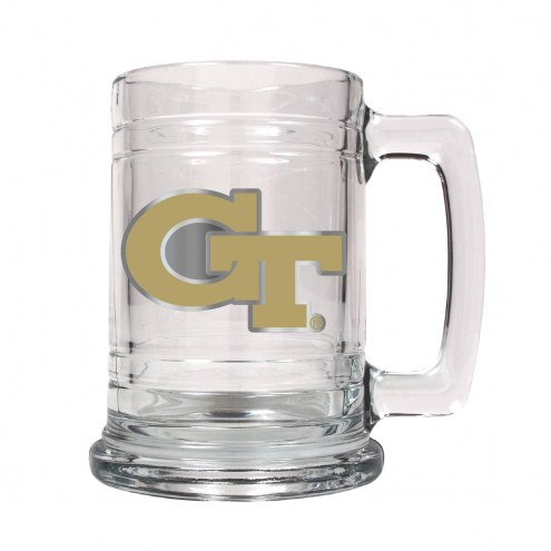 Georgia Tech Yellow Jackets College Glass Tankard Beer Mug 2-Piece Set