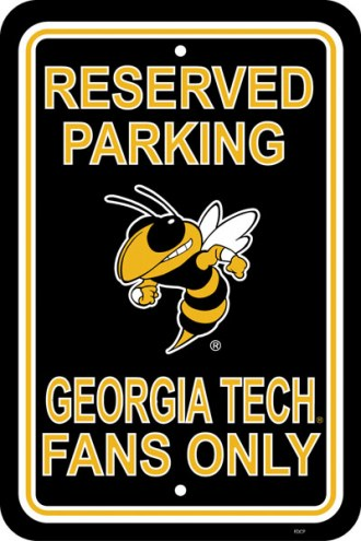 Georgia Tech Yellow Jackets College Parking Sign