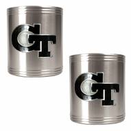 Georgia Tech Yellow Jackets College Stainless Steel Can Holder 2-Piece Set