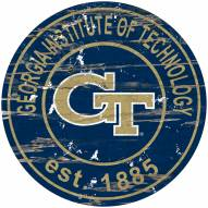 Georgia Tech Yellow Jackets Distressed Round Sign