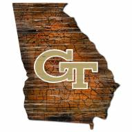 Georgia Tech Yellow Jackets Distressed State with Logo Sign