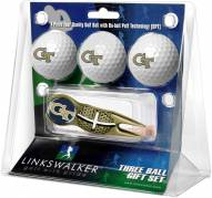 Georgia Tech Yellow Jackets Gold Crosshair Divot Tool & 3 Golf Ball Gift Pack
