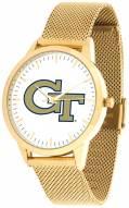 Georgia Tech Yellow Jackets Gold Mesh Statement Watch