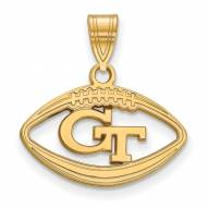 Georgia Tech Yellow Jackets Sterling Silver Gold Plated Football Pendant