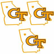 Georgia Tech Yellow Jackets Home State Decal - 3 Pack