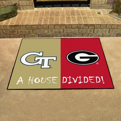 Georgia Tech Yellow Jackets/Georgia Bulldogs House Divided Mat